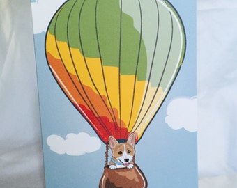 Corgi Hot Air Balloon Greeting Card