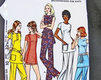 Vintage Sewing Pattern 1970s Misses size 10 McCalls Pounds Thinner Slimming Womens Tunic with Pants Pattern 70s