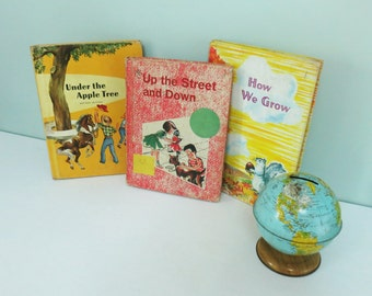 Three Mid-Century Children's Primers Reader Books, Nice Illustrations: Under the Apple Tree; Up the Street and Down; How We Grow