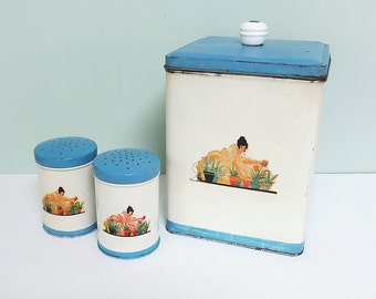 1940s Kitchen Canister & Shaker Set, Lady Gardener with Flower Pots Decals, White with Blue Lids