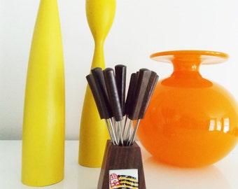 Vintage 1950s teak wood cocktail Party Forks - mid century modern German Set of 12 forks with Box