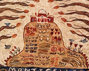 House on a hill, Monticello rug hooking pattern//garden and trees