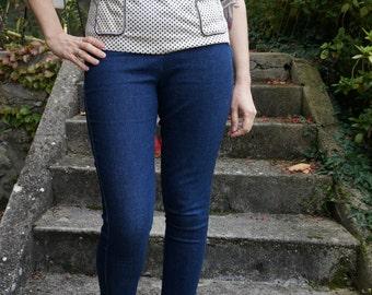 vintage 60s 70s m l polo knit button shirt top navy blue cream flower pocket  striped letter S 1970 1960 70's polka dot  floral blouse