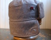 Furry Russian L: warm winter earflap hat in tan, brown, and grey plaid wool tweed