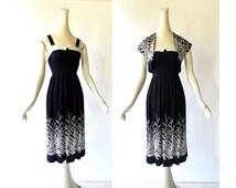 1950s Dress with Jacket / Wild Grasses / 50s Dress / XXS