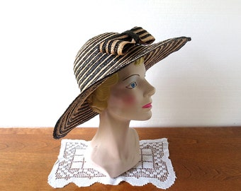 Straw Sun Hat / Vintage 1950s Hat / Wide Brim Hat