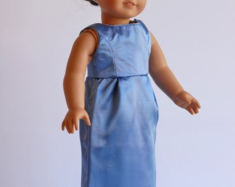 """American Girl Doll Clothing: Breakfast at Tiffany's Inspired Outfit, Blue American Girl Doll dress, Fancy Dress for 18"""" dolls, ag doll dress"""