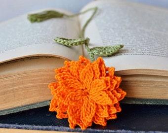 Handcrafted Bookmark, Crochet Bookmark Orange Flower Dahlia Bookmark Fiber Bookmark Cotton Thread Bookmark