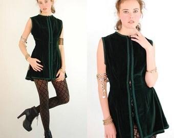 Velvet Tunic Vintage Dark Forest Green Sleeveless Velvet Tunic Gypsy Festival Vest (s m)