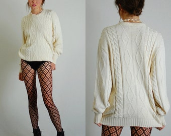 Cable Knit Sweater Vintage 80s Winter Slouchy Boyfriend Cable Knit Pull Over Sweater (m l)