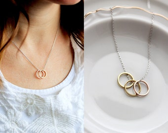 Build Your Own Circle Necklace - Silver or Gold Mother's Day Gift Bridesmaid Gift Wedding Gift Mothers Day Gift Necklace Open Circle