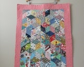 VINTAGE colorful cotton fabric BABY size QUILT