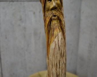 Walking Cane - Carved Wood Spirit Face Cane - Hand Carved walking cane - mountain man - functional art - ren faire - 1383
