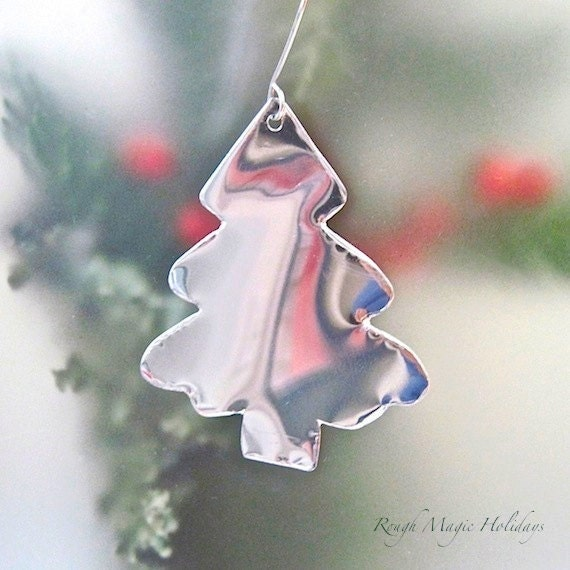 Silver metal christmas ornament aluminum by roughmagicholidays
