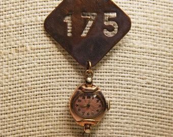 Vintage Watch & BRASS TAG Necklace- Found Object Jewelry- 175- Metal Tag Pendant
