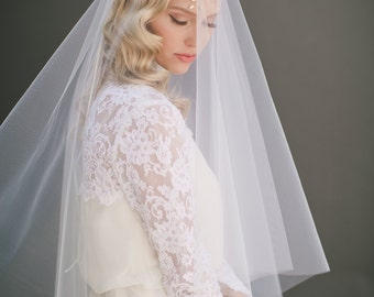 Drop Wedding Veil, Simple Veil, Smooth Veil, Circle Veil, Two Tier Bridal Veil, Cathedral Veil, Long Veil, Bridal Accessory, style #1106