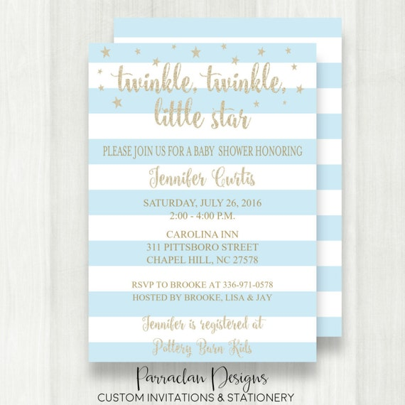 Twinkle Twinkle Little Star Baby Shower Invitation | Twinkle Twinkle Baby Shower Invitation | Glitter Invitation | Blue | Boy | {Baby97}