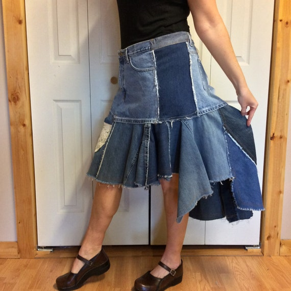 upcycled denim skirt with lace pocket hi low by sewsomer