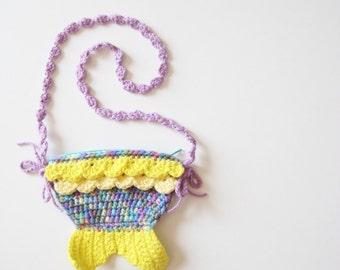 Purple Yellow Mermaid Tail Zipper Bag - crochet colorful kawaii fish kid little girl pretend play purse treasure hunt pouch gift card holder