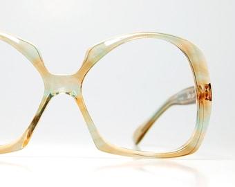 Oversize Milky Squared Eyeglasses Frames Tiffany Eyewear 1970s Peach and Turquoise Pastel Frame France