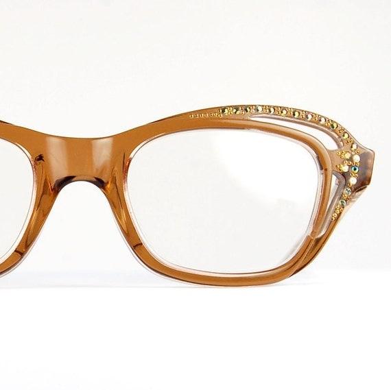Cat Eye Rhinestone Eyeglass Frames : Rhinestone Cat Eye Sun/Eyeglasses CUT OUT Jeweled Optical