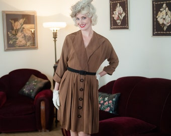 Vintage 1950s Dress - Smart Mocha Brown 50s Day Dress with Surplice Lapels and Pleated Skirt