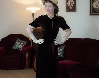 Vintage 1930s Dress - Plush Warm Brown Silk Velvet 30s Dress with Shirred Drape and Contrasting Ivory Jacquard