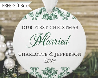 First Christmas Ornament Married Personalized Wedding Gift Our First Christmas Together Ornament - Dainty Damask Pattern - Item# DAI-M-O