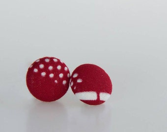 Red and white fabric button earrings