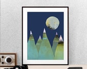 Green Mountains and Moon Print, Digital Download, Printable Art, Instant Download, Vermont Art, Hiking Art, Repurposed Recycled Mountain Art