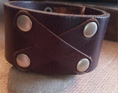 Men's Brown Leather Cuff  with Silver Rivets
