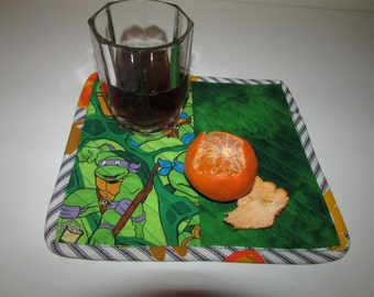 Ninja Turtles Snack Mat SET (2)  two mini placemats, quilted, reversible