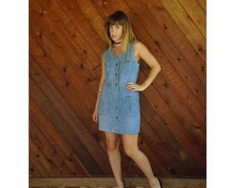 Sleeveless Denim Button Down Mini Shift Dress - Vintage 90s - SMALL S