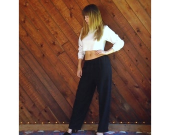 Black Silk Trousers Pants Slouchy Fit - Vintage 90s - M/L