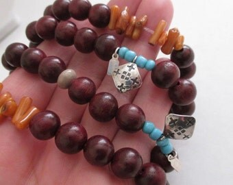 """Vintage SET of 4 """"PEYOTE BIRD"""" Sterling Silver Branch Coral-Carved Turquoise-Agate-Wood Beads Stretch Bracelets"""