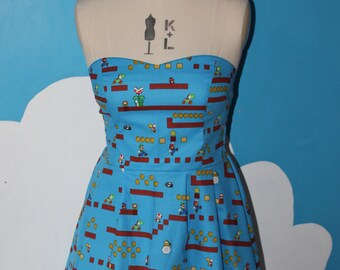 gaming mario sweet heart dress - all size