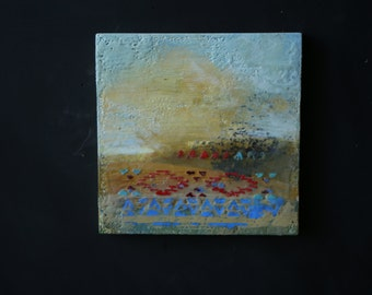 Encaustic Painting Original SouthWest Landscape and Tribal Design 8 x 8 in By Bobbie Jansens Modernfigurative on Etsy