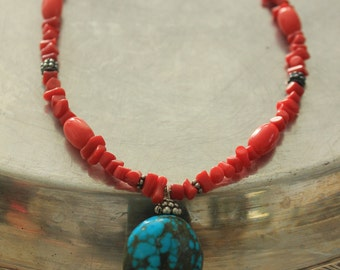 Turquoise pendant and coral stranded necklace
