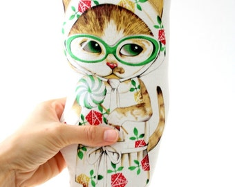 Cat Vintage Style Paper Doll / Cat Cloth Doll