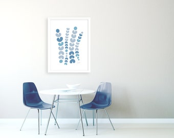 Extra Large Abstract Art Print, Oversized Artwork, Extra Large Wall Art, Navy Abstract Art