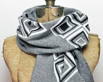 Hand Printed Squares Scarf - Eco Fleece