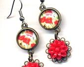 Poppy Earrings, Flower Earrings, Red and Blue Earrings, Red Earrings, Nature Earrings,Surgical Steel Earrings, Ooak