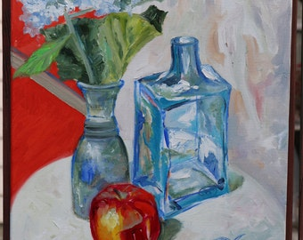 Original Oil on Canvas. Floral Still Life with Apple. TITLE Hydrengea Study, Floral Painting. Original painting. Fine Art by AnnaArt72