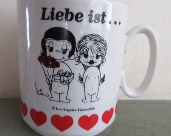 Vintage Mug, Love Is Mug, Love Mug, Liebe Ist Mug, Valentine Mug, German Love Is, Coffee Cup, Ceramic Mug, Cute Kawaii Zakka, Vintage Cup