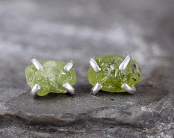 Peridot Earrrings - August Birthstone - Raw Green Gemstone Earring - Sterling Silver Stud - Apple Green - Olivine Gemstone - Rustic Jewelry