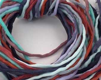 Hand Painted Silk Cord - Hand Dyed Silk - Silk Ribbon - Jewelry Supplies - Wrap Bracelet - Craft Supplies - 2mm Silk Cord Item No.386