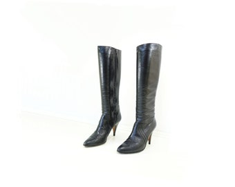 Vintage Black Boots 80s High Heel Boots Black Leather Boots Tall Size 8 1/2 Vintage High Heel 80s Vintage Boots Andrew Geller Boots  8 1/2