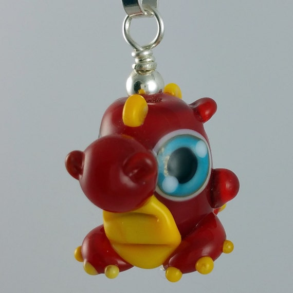 Red Dragon Lampworked Glass Necklace and Cell Charm