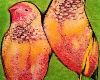 Bird Fantasy Nature Orange Green Art, Love Birds