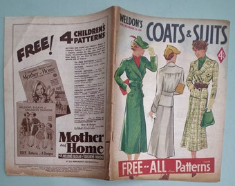Coats & Suits Weldon's Home Dressmaker No. 516 1937 Vintage 30s Sewing Patterns Catalog 30s dressmaking catalogue magazine knitting pattern
